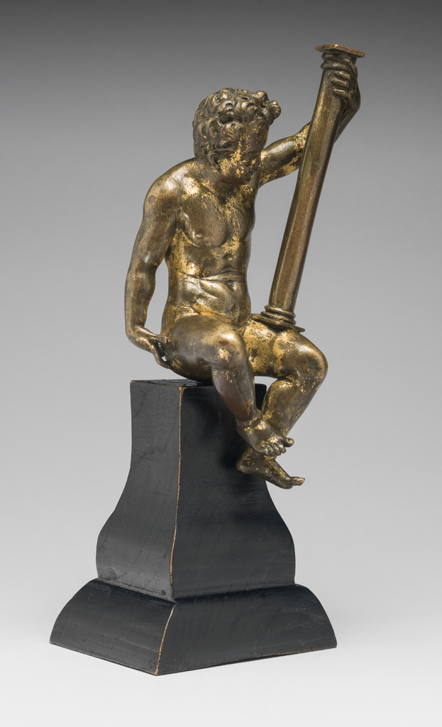 An image of Figure. Seated Putto with a Column. Gerhard, Hubert (Netherlandish, 1550-1622/3). Copper alloy, probably bronze, cast, chased, and gilded, height, whole, 17.3 cm, circa 1580-1585. Renaissance. Production Place: Germany.
