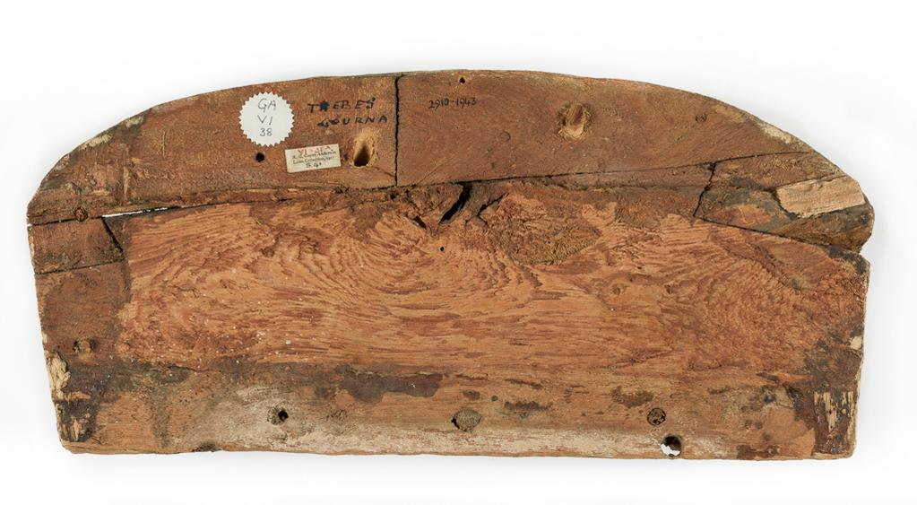 An image of Funerary equipment/coffin. Foot-end of coffin, painted with figure of Isis, arms outstretched. Production Place: Egypt. Find Spot: Thebes Gourna, Egypt. Wood, height 17.3 cm, width 38.0 cm, thickness 1.8 cm, circa 1500- circa 1400 B.C.