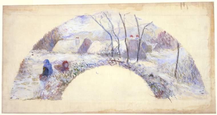 Fan design: garden under snow, 1885