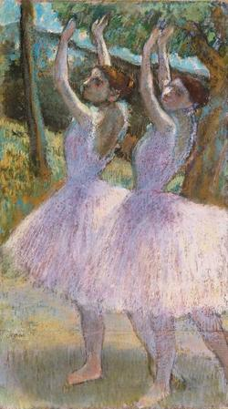 Female dancers in violet skirts, their arms raised, c.1900