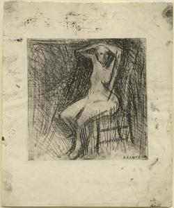 Featured image for the project: Nude seated with arms above her head