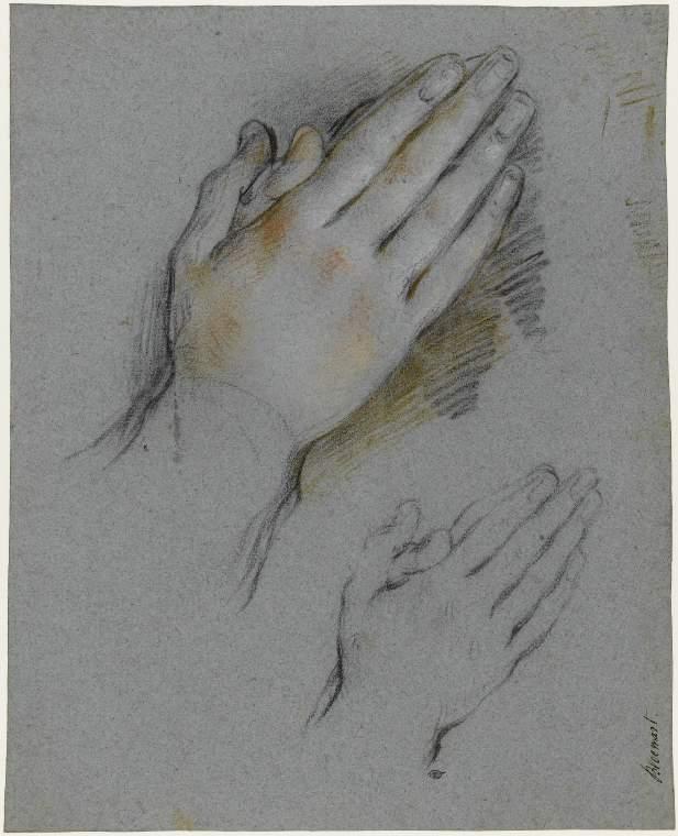 Studies of hands clasped in prayer