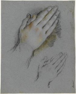 Studies of hands clasped in prayer preview image