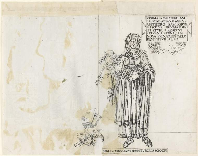 An image of Title/s: Drawing reduced from tracings taken from the inlaid marble pavement of Siena Cathedral during its restoration in the nineteenth centuryTitle/s: The Cumaean Sibyl Maker/s: Maccari, Leopoldo (draughtsman) [ULAN info: Italian artist, 1850-1894?]Technique Description: pen and black ink on paper Dimensions: height: 408 mm, width: 248 mm