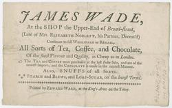 Featured image for the project: Trade card of James Wade