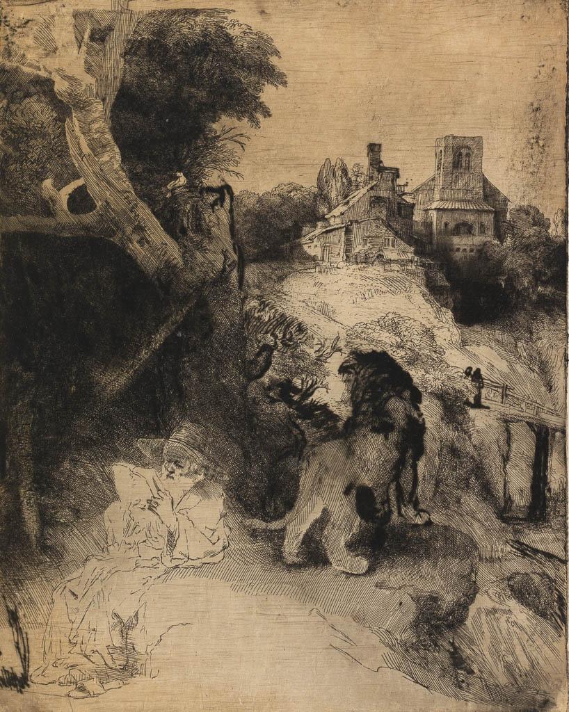 St Jerome reading in an Italian landscape