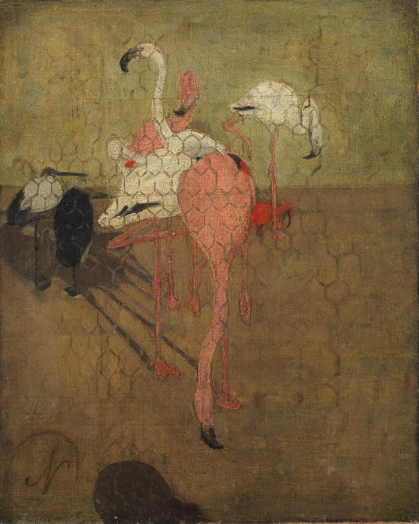 An image of Flamingoes. Nicholson, William (British, 1872-1949). Oil on canvas, height 35 cm, width 28.4 cm, 1889.