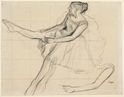 Young female dancer adjusting her tights, c.1879