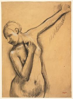 Study of a standing nude woman, her left arm raised, c.1898