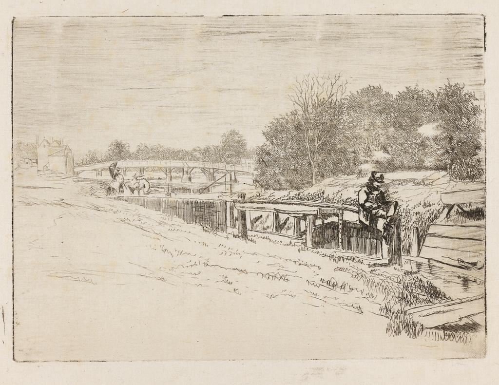 Molesey Lock (Whistler on the gate)