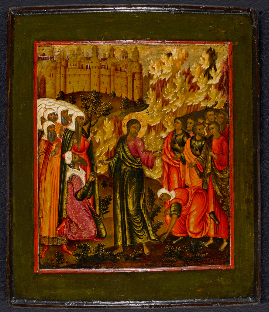 An image of Icon. Unidentified Gospel subject. Unknown maker. Moscow school. 17th Century. Image taken post-cleaning.