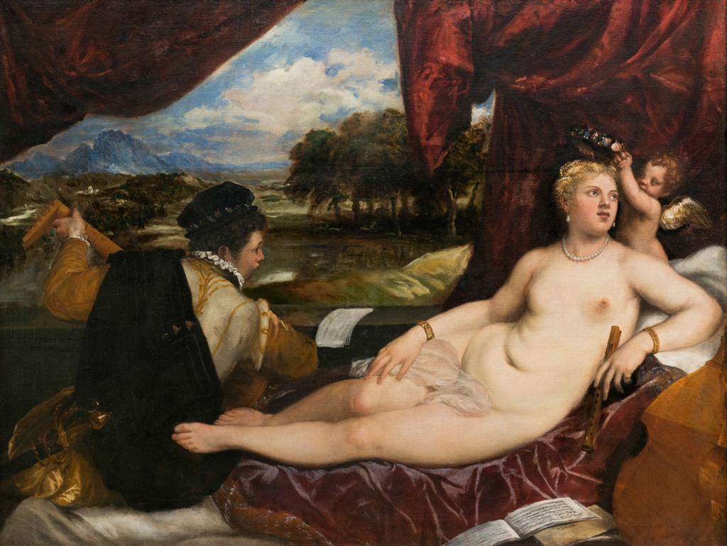 Venus and Cupid with a lute-player
