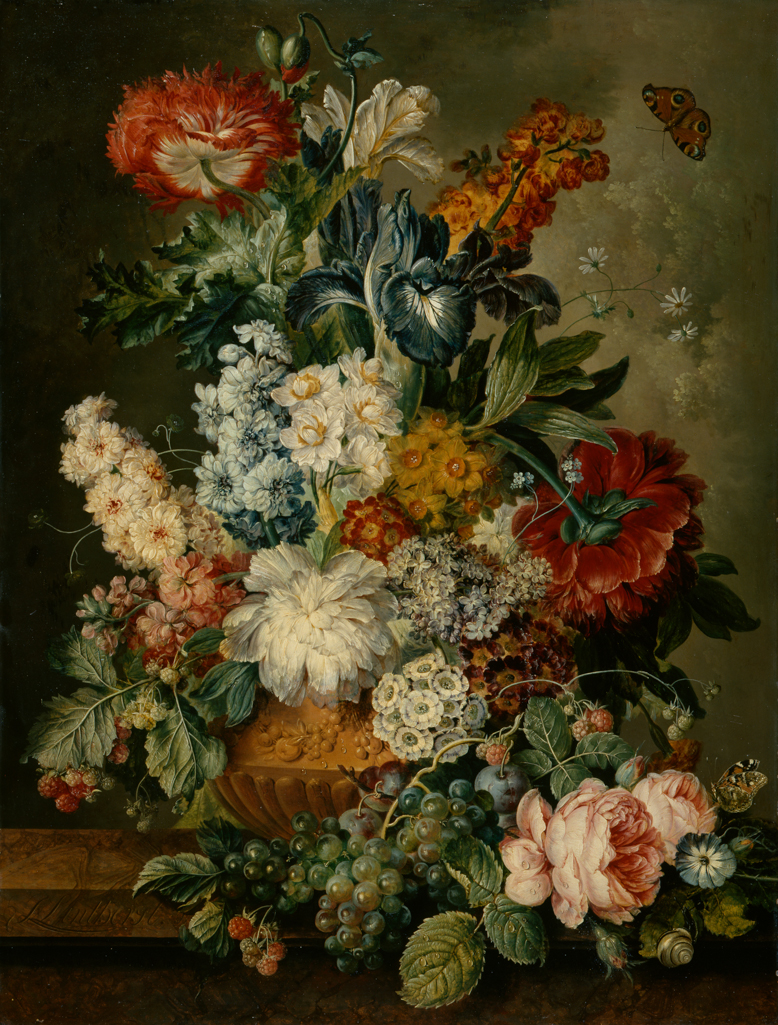 An image of Vase of flowers. Linthorst, Jacobus (Dutch, 1745-1815). Oil on panel, height 71 cm, width 54.6 cm. Pendant to PD.32-1966.