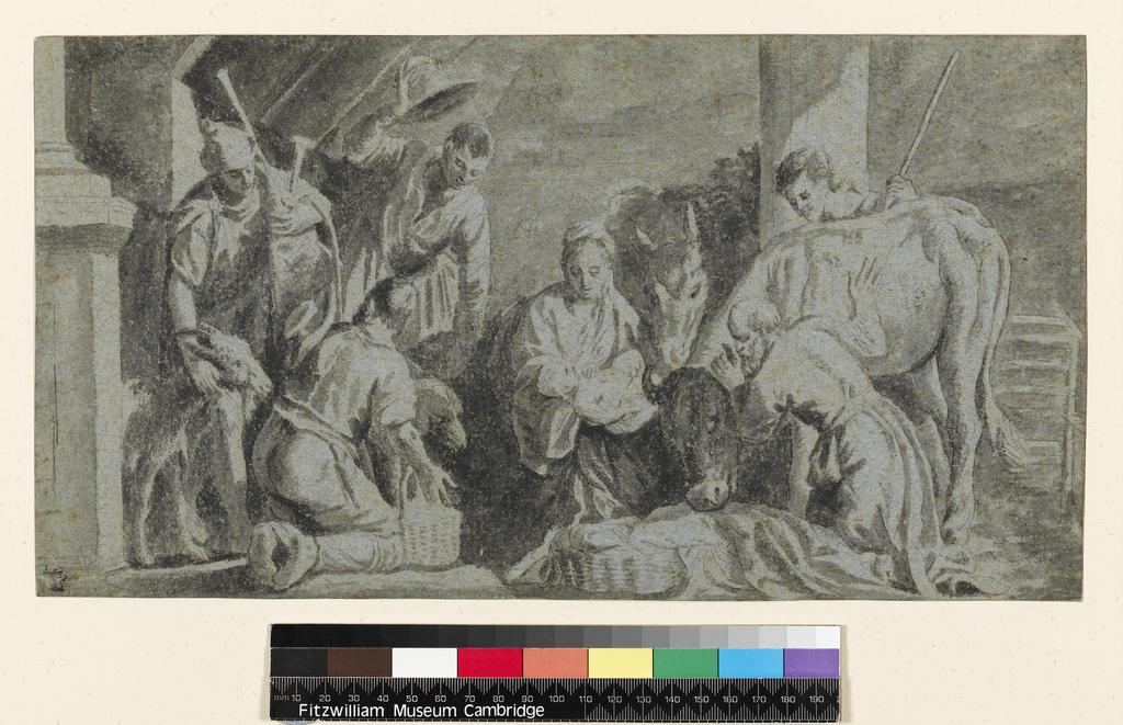 An image of Title/s: The Adoration of the Shepherds Maker/s: Veronese (Paolo Caliari) after (draughtsman) [ULAN info: 1528-1588]Production Notes: A copy after the painting by Veronese and his workshop now in Prague Castle (No. 536-281-251). Technique Description: point of the brush, grey wash over black chalk on blue paperDimensions: height: 196 mm, width: 366 mm