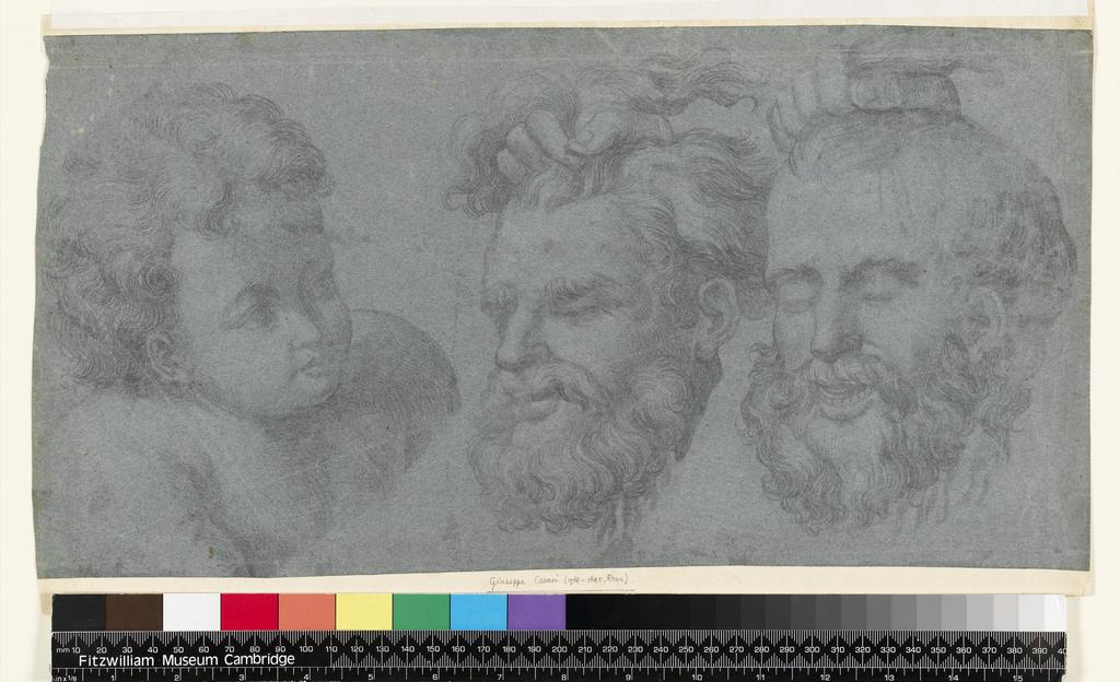 An image of Title/s: Study after the head of St John from the 'Holy Family of Francis I' and a study of two heads from the 'Battle of the Milvian Bridge' Maker/s: Raffaello Sanzio after (draughtsman) [ULAN info: 1483-1520]Technique Description: black chalk on blue paper (offset) Dimensions: height: 214 mm, width: 420 mm
