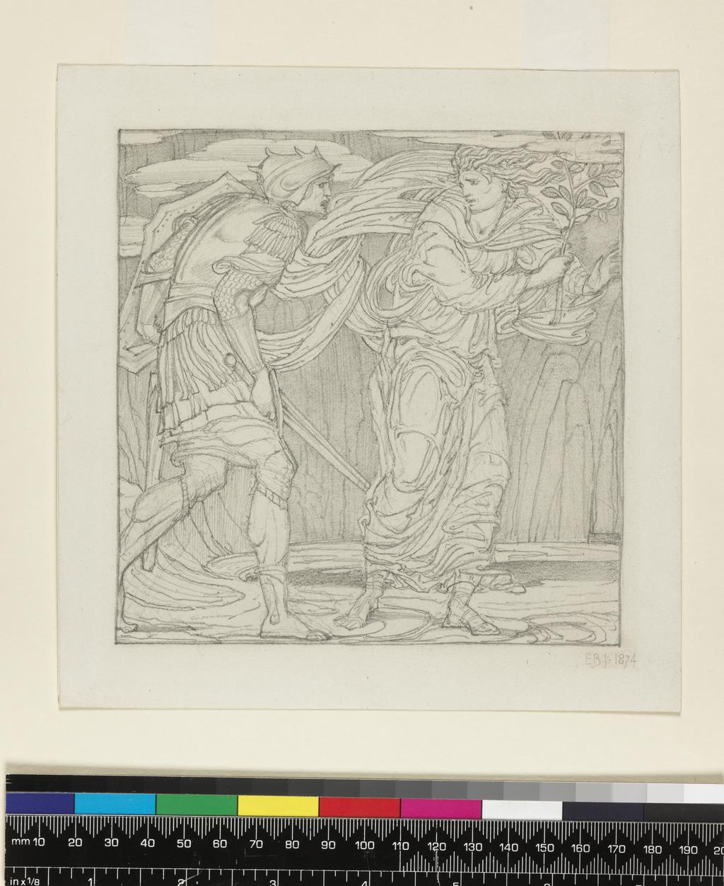 An image of Aeneas and the Sibyl in the Underworld. Burne-Jones, Edward (British, 1833-1898). Graphite within ruled margin on paper, height, sheet size, 178 mm, width, sheet size, 172 mm, height, drawn area, 142 mm, width, drawn area, 140 mm, 1874.