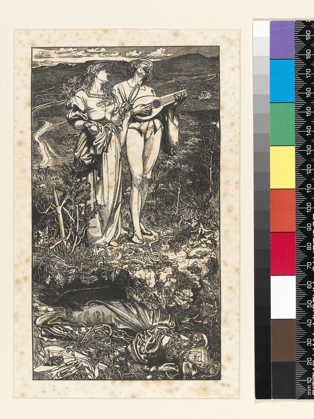 """An image of Title/s: Amor Mundi Maker/s: Sandys, Frederick (draughtsman) British artist, 1829-1904Dalziel family (printmaker) British engravers, 19th c.Production Notes : Proof. Illustration to Christina Rossetti's poem in the """"Shilling Magazine"""", 1865Technique/s: wood engravingMaterial/s : black carbon ink (Medium), paper (Support) Dimensions: image height: 175 mm, image width: 99 mm Date: circa 1865"""