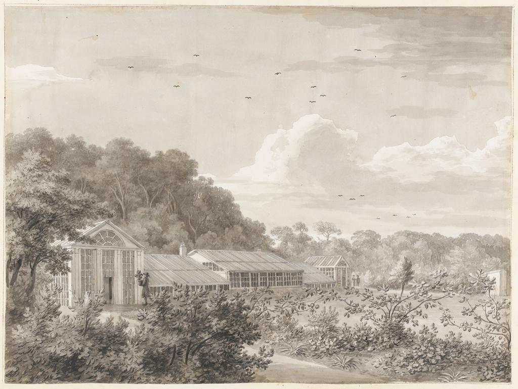 An image of Title/s: Mount Merrion: the kitchen garden (pag. 9) Maker/s: Ashford, William (draughtsman) [ULAN info: British artist, 1746-1824]Technique Description: grey wash on paper laid down on hollow mounts and bound with backing sheetsDimensions:  height: 320 mm, width: 430 mmDate: 1806