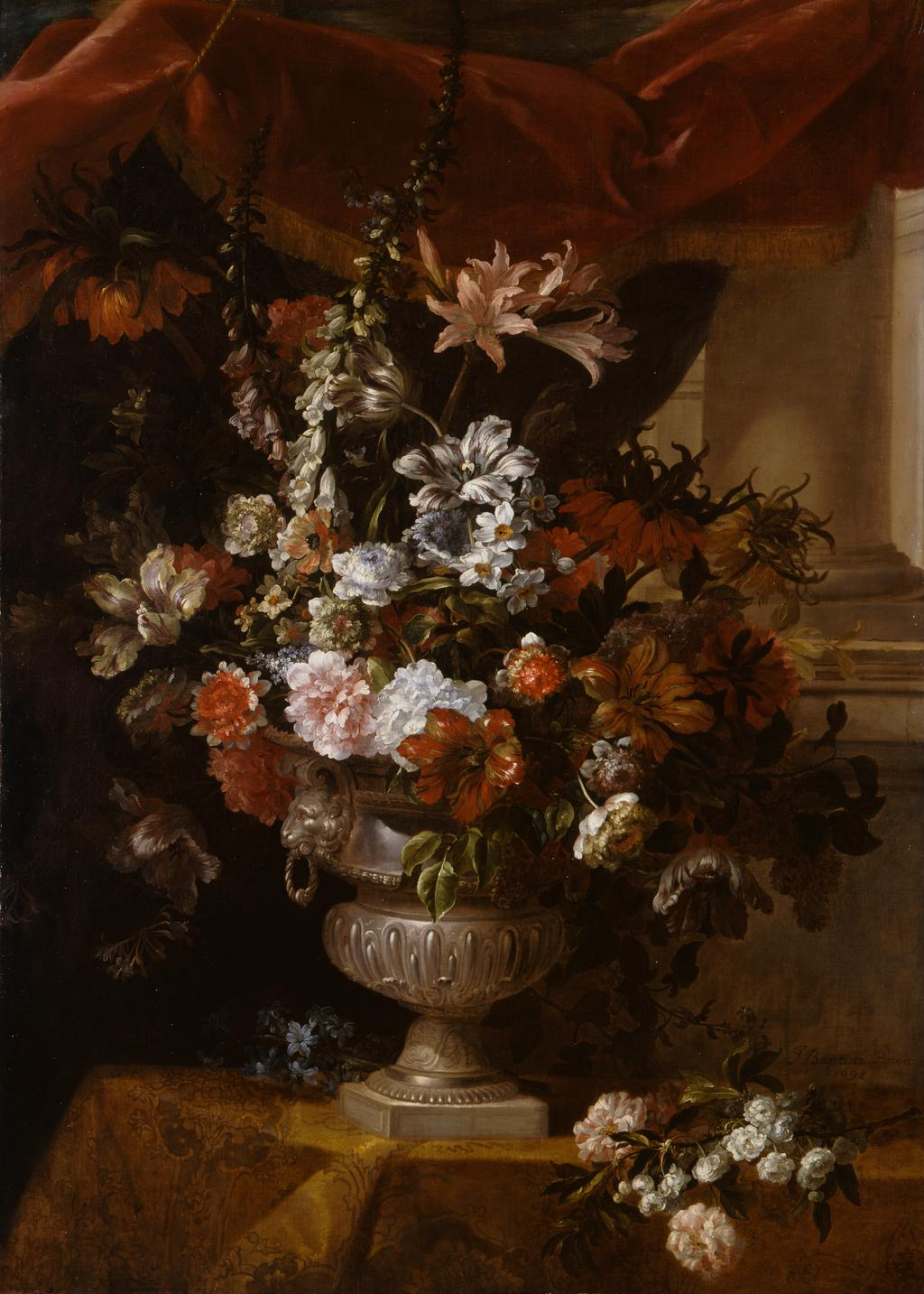 An image of An urn with flowers. Monnoyer, Jean-Baptiste I (French, 1636-1699). Oil on canvas, height 198.1 cm, width 116.9 cm, 1698.