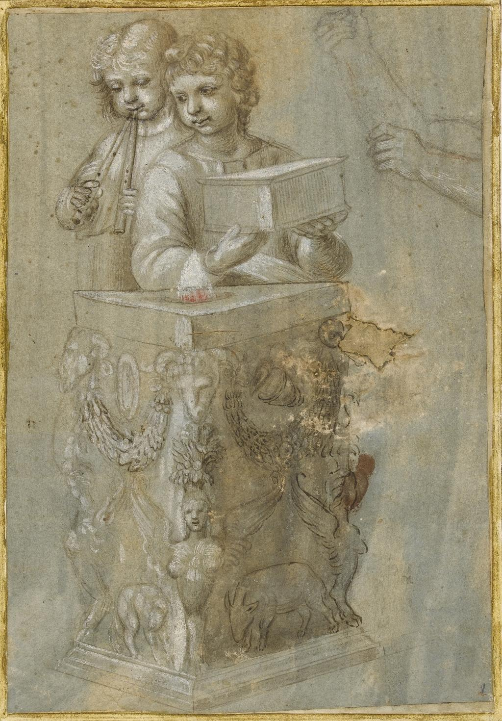 An image of Title/s: Copy after the cartoon of St Paul and St Barnabus at Lystra Maker/s: Raffaello Sanzio after (draughtsman) [ULAN info: 1483-1520]Technique Description: pen and brown ink over metal point, heightened with white on paper washed grey-blue Dimensions: height: 235 mm, width: 160 mm